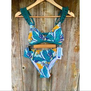 CUPSHE bikini set green and yellow floral ruffle